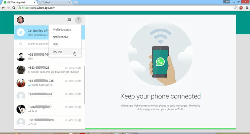Kedua, Log out dari ponsel. Ketuk menu WhatsApp (langkah no.4), ketuk ...