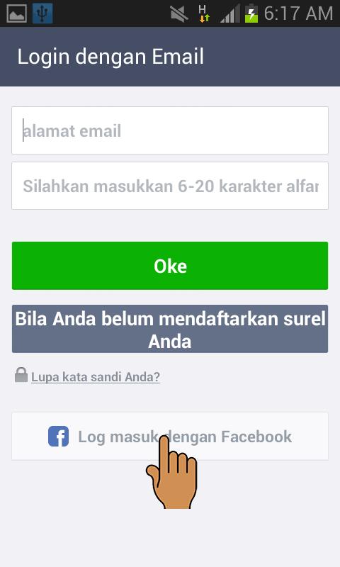 login ke LINE menggunakan facebook