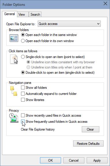 remove recent folder n file untick