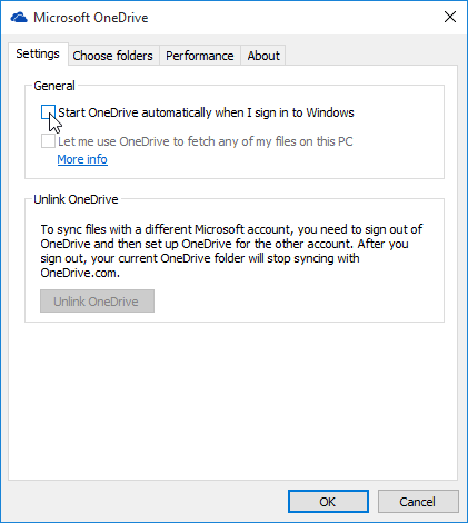disable startup onedrive windows 10