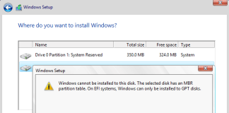 Windows cannot be installed on this disk. The selected disk has an MBR partition table