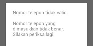 Nomor telepon tidak Valid