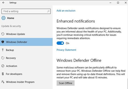 Windows Defender Offline untuk Windows 10 dan Windows 7